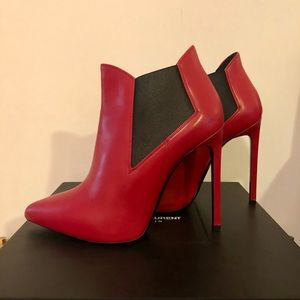 Saint Laurent Stiletto Ankle Booties Rouge 36.5